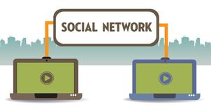 Social network theme with two laptops. Two laptops connected through a social network. Social network concept royalty free illustration