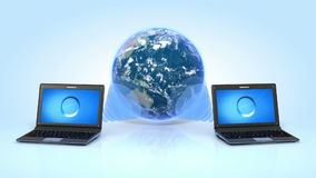 Two Laptops and Earth on reflective floor. Global Connection Concept. HD 1080 stock video footage
