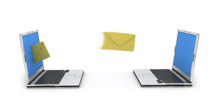 Two laptops email. Laptop which letters go out from vector illustration