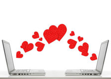 Two laptops with hearts Stock Photography