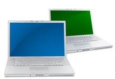 Two Laptops isolated on white stock image