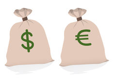 Two large bags of money Royalty Free Stock Photography