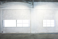 Two large banners on exposition Royalty Free Stock Photography