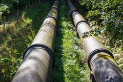 Two large black water pipes, converging in distance. Royalty Free Stock Photos
