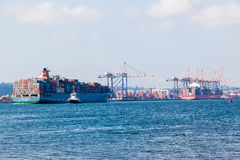 Two Container Ships Harbor Stock Photos