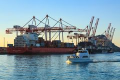 Free Two Large Container Ships Taking On Cargo, Tauranga, New Zealand Stock Images - 157836564