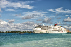 Two large cruise ships in Bahamas Royalty Free Stock Image