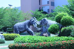 Two large elephant statues were fighting each other in the garde. N Stock Photos
