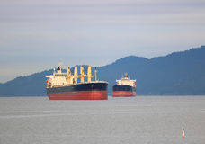 Two large freighters Stock Photography