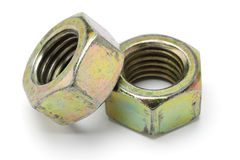 Two large metal nuts Stock Image