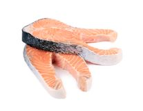 Two large pieces of raw salmon. Royalty Free Stock Photo