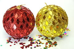 Two large shiny ball. On a white background Royalty Free Stock Photography