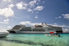 Two large ships. Grand Turk, Grand Turk and Caicos Island - December 29, 2015: Two Cruise Ships Docked in Grand Turk Islands, Caribbean Stock Photography