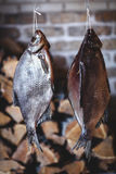 Two large smoked fish hang on background of stacked firewood Royalty Free Stock Photos