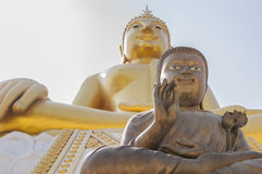 Two large statues of Buddha at Wat Hua Ta Luk,Nakorn Sawan, Thai Royalty Free Stock Photo