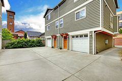 Two large townhouses and driveway Stock Image