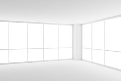 Two large windows in corner of empty white business office room. Business architecture white colorless office room interior - two large windows in corner of Royalty Free Illustration