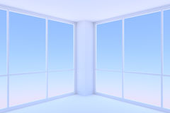 Two large windows in empty blue business office room. Business architecture office room interior - two large windows with morning blue sky light in empty blue Stock Images