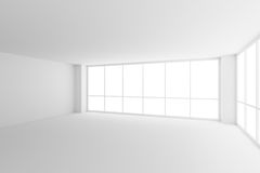 Two large windows in empty white business office room with Royalty Free Stock Images