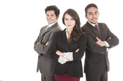 Two latin businessmen and a businesswoman in suits Stock Photos