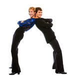 Two latino male dancers funny posing. On white background Stock Photography
