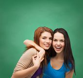 Two laughing girls hugging. Friendship and happy people concept - two laughing girls hugging Stock Images