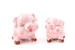 Two laughing pink piggy bank Stock Photography