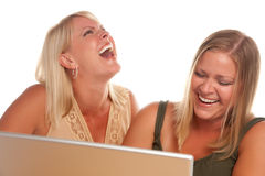 Two Laughing Woman Using Laptop Royalty Free Stock Image