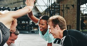 Laughing women planking and high fiving together while working o. Two laughing young women in sportswear high fiving each other while planking with a couple of stock photo