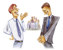 Two lawyers talk. Illustration of two lawyers talking with the jury behind them Stock Photo