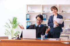 Two lawyers working in the office. The two lawyers working in the office royalty free stock photo