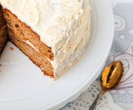 Two layer apple cake close-up Royalty Free Stock Photos