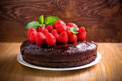 Two layers chocolate cake Royalty Free Stock Photos