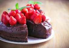 Two layers chocolate cake Royalty Free Stock Images