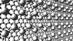 Two layers of hexagonal atomic structure of graphene. Sketch version for presentations and reports. 4K seamless looping stock video footage