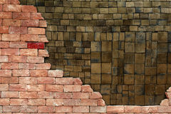 Two layers of Stacked walls having the red one is different. Royalty Free Stock Photos