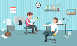 Two lazy office workers have a lot of job but they are having fu Royalty Free Stock Photo