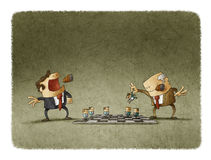 Two leaders playing chess with employees Royalty Free Stock Photography