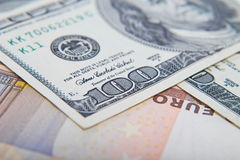 Two leading hard currencies - US Dollar and Euro. Background Stock Photo