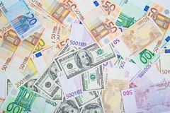 Two leading hard currencies - US Dollar and Euro Royalty Free Stock Images