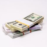 Two leading hard currencies - US Dollar versus Euro Stock Image