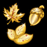 Two leaf and acorn made of gold. Vector set Royalty Free Stock Photography