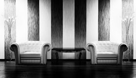 Two leather armchairs,table and floor lamps Royalty Free Stock Photos