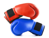 Two leather boxing gloves on white Royalty Free Stock Image