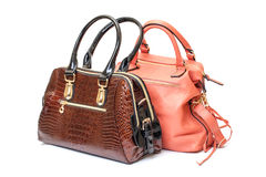 Two Leather Ladies Handbag Royalty Free Stock Images