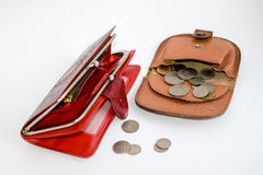 Two leather wallets with coins. Two leather purse with coins Stock Photos