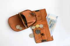 Two leather wallets with coins. Two leather purse with coins Royalty Free Stock Photos