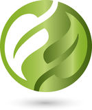 Two leaves, circle. Two leaves and circle, natural logo Stock Photography