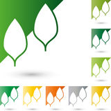 Two leaves, trees in color, nature and gardener logo Royalty Free Stock Photos