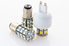 Two LED bulbs with a bayonet and one with G9 Stock Images